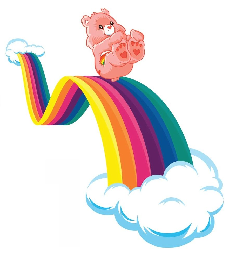 Care bears on rainbow clipart png free stock Care Bears: Cheer Bear Sliding Down a Rainbow   Care Bears   Care ... png free stock