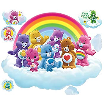 Care bears on rainbow clipart png transparent Care Bears Large Rainbow Cloud Wall Decal Set png transparent