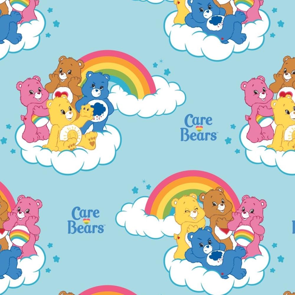 Care bears on rainbow clipart image freeuse stock Care Bears Rainbow in Blue Care Bear Logo Rainbows Cloud Cotton Fabric image freeuse stock