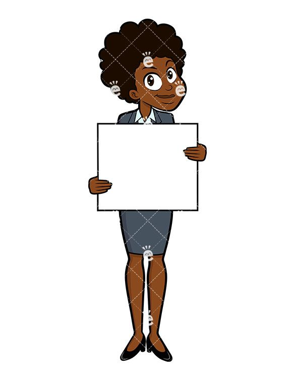Career and life clipart png black and white A Smiling Black Businesswoman Holding A Blank Sign | My life is ... png black and white