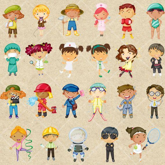 Career clipart for kids svg transparent download INSTANT DOWNLOAD Children Baby Job Career Digital Clipart Card ... svg transparent download