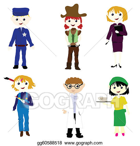 Career clipart for kids vector black and white Vector Stock - Career cartoon kids. Clipart Illustration gg60588518 ... vector black and white