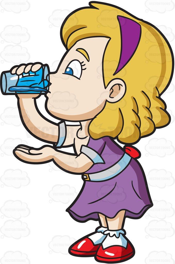 To be thirsty clipart svg library library A girl carefully drinks a glass of water #cartoon #clipart #vector ... svg library library