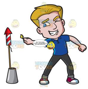 Carefully clipart clip freeuse A Man Carefully Lights A Rocket Firecracker clip freeuse