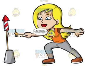 Carefully clipart jpg transparent stock A Woman Carefully Lights A Firecracker With A Candle jpg transparent stock