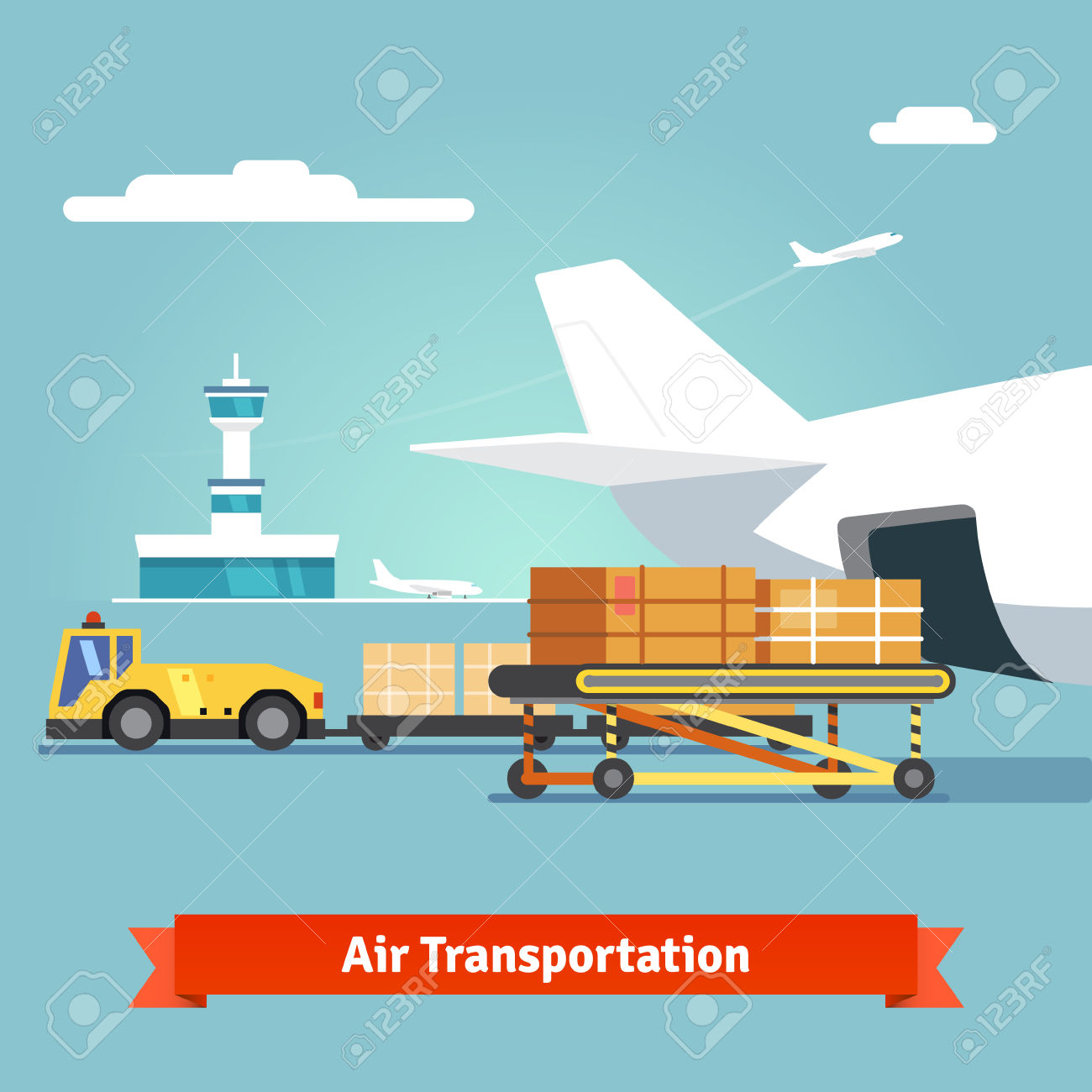 Cargo plane loading clipart clip art free Loading Boxes To A Preparing To Flight Aircraft With Platform ... clip art free