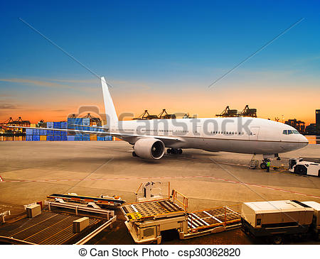 Cargo plane loading clipart image download Stock Photo of air freight and cargo plane loading trading goods ... image download