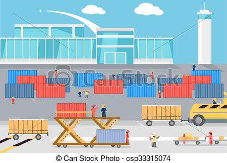 Cargo plane loading clipart png download Vectors Illustration of Loading Freight Containers in a Cargo ... png download