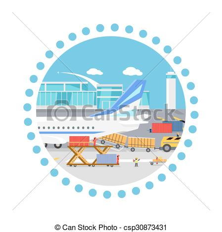 Cargo plane loading clipart vector freeuse stock Vectors of Loading Freight Containers in a Cargo Plane - Loading ... vector freeuse stock