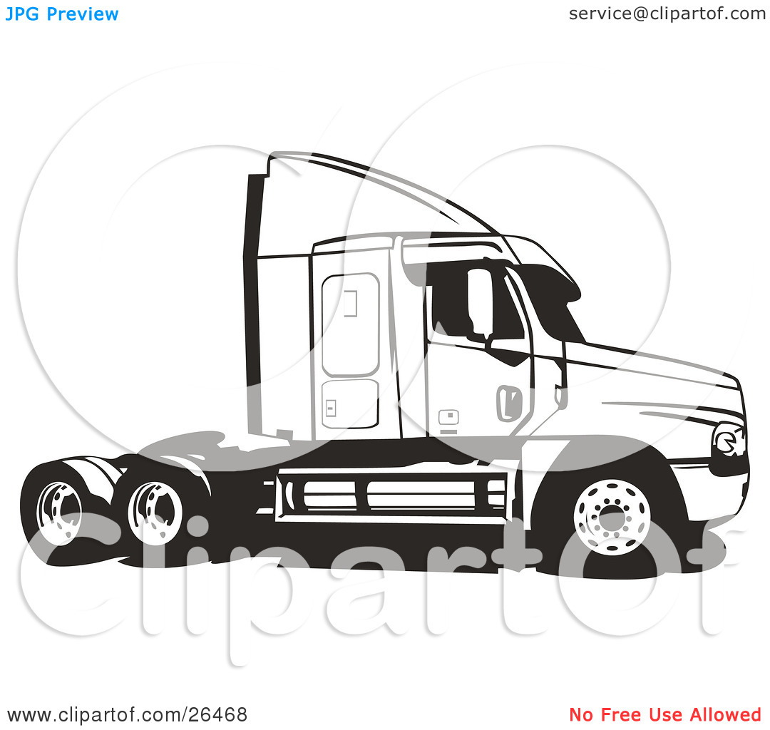 Cargo truck clipart 100 x 100 jpg library library Clipart Illustration of a Big Rig Truck Without The Cargo Carrier ... jpg library library