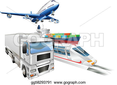 Cargo truck clipart 100 x 100 svg library download Vector Art - Logistics concept airplane truck train cargo ship ... svg library download