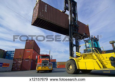 Cargo truck clipart 100 x 100 png royalty free library Stock Photograph of Truck and forklift with cargo container in ... png royalty free library