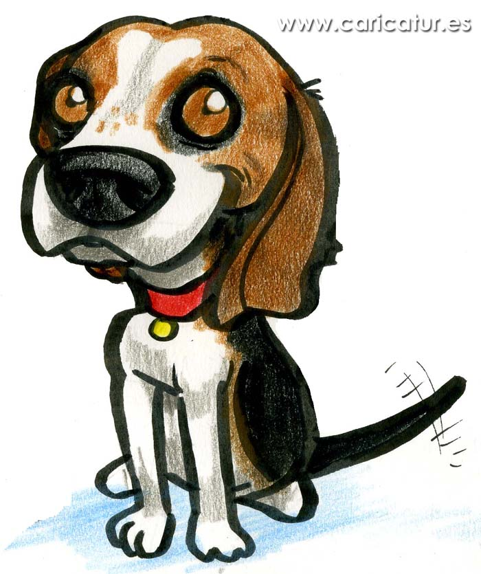 Beagle Cartoon - Free Clipart Cartoon of Beagle Dog Wagging Tail – graphic library