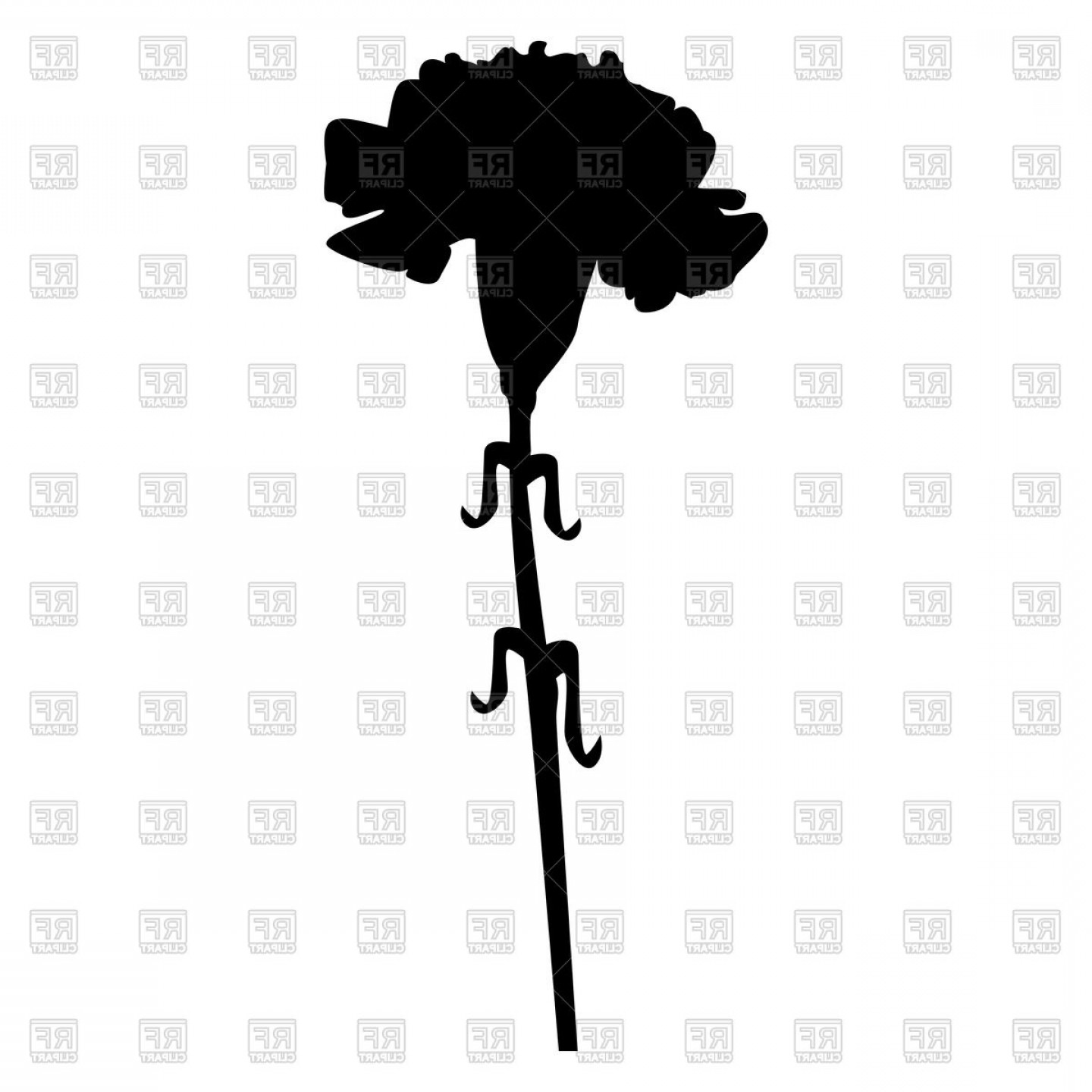 Carnation clipart black vector black and white library Carnation Black Color Icon Vector Clipart | HandandBeak vector black and white library