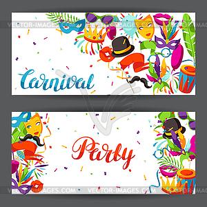 Carnival celebration clipart banner library download Carnival party banners with celebration icons, - vector clipart banner library download