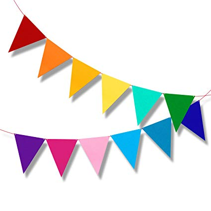 Carnival flags clipart jpg library library Multicolor Bunting Pennant Flags Banner Carnival Birthday Party Decorations  6.5ft jpg library library