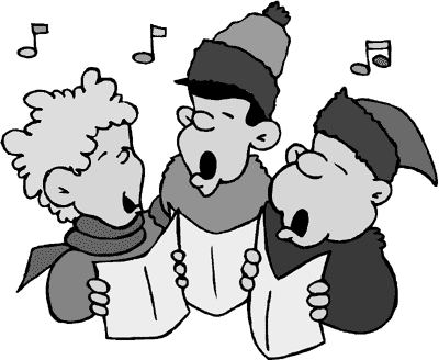 Christmas carollers clipart black and white vector black and white library Caroling clipart black and white, Caroling black and white ... vector black and white library