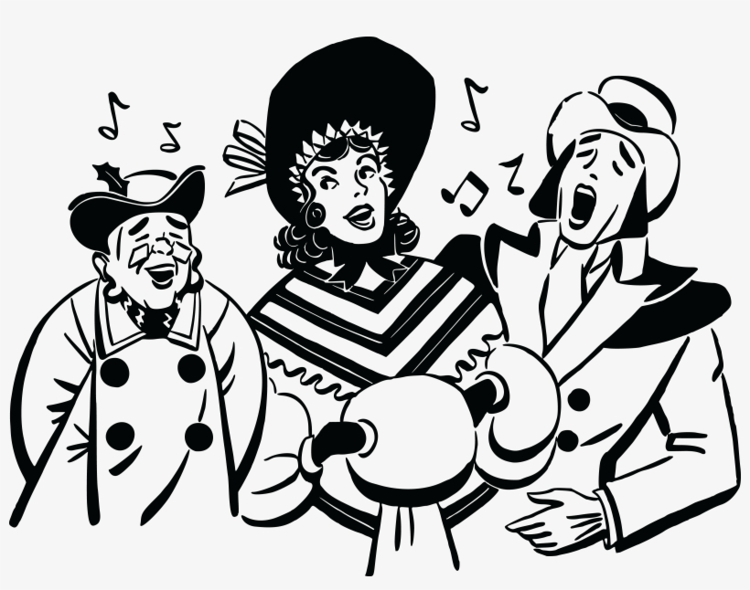 Of a group carolers. Free kids christmas caroling clipart black and white
