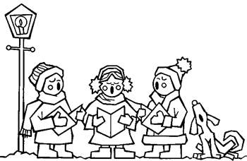 Free kids christmas caroling clipart black and white. Cliparts download clip art