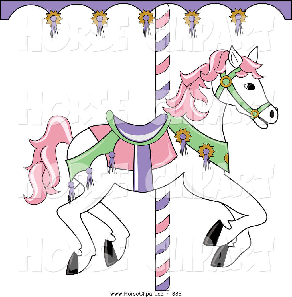 Carousel horse clipart black and white free clipart black and white download Clip Art of a White Carousel Horse with Pink Hair, on White by Pams ... clipart black and white download