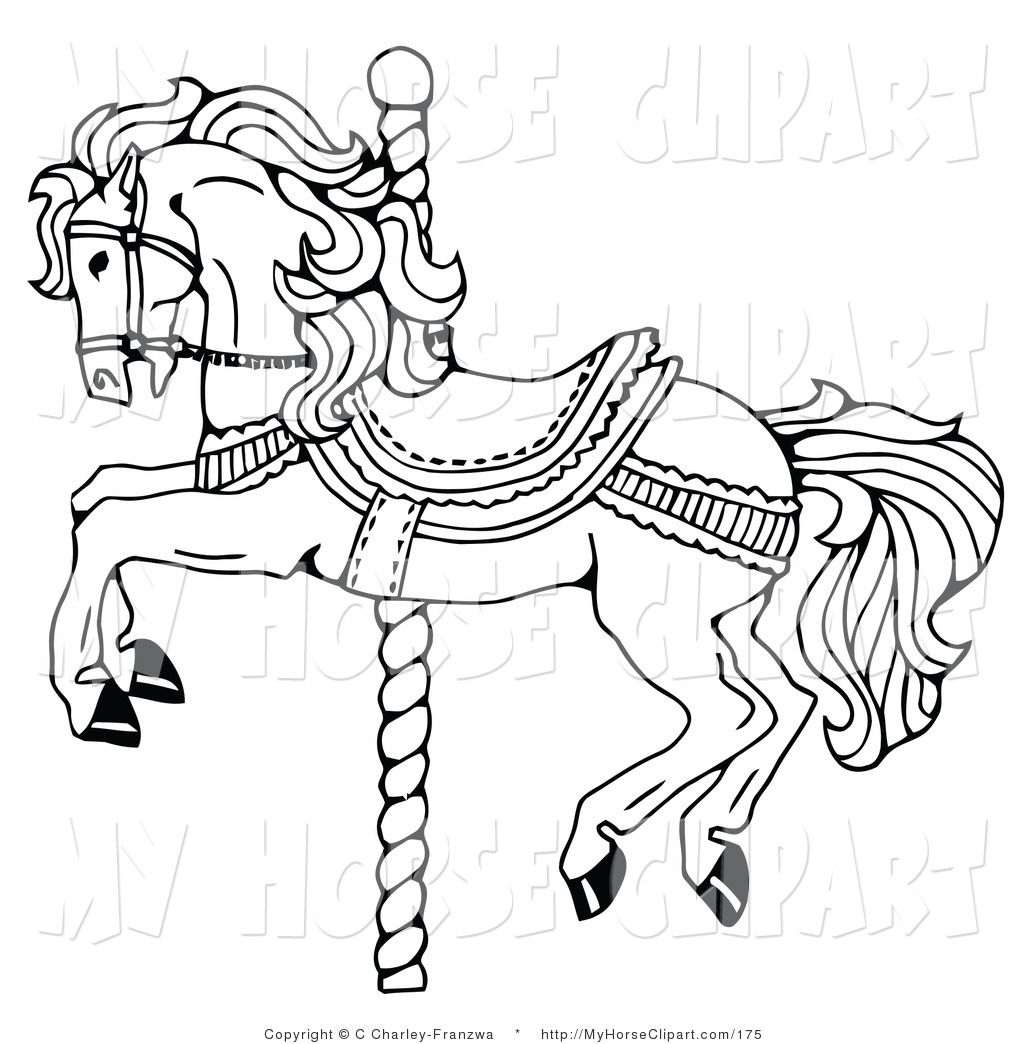 Carousel horse clipart black and white free image black and white stock Clip Art of a Carousel Horse on a Spiraling Pole on White by C ... image black and white stock