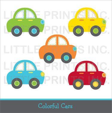 Carros clipart para bebes svg freeuse library Cute Car Clipart / Colorful Car Clip Art / Car Baby Shower / Car ... svg freeuse library