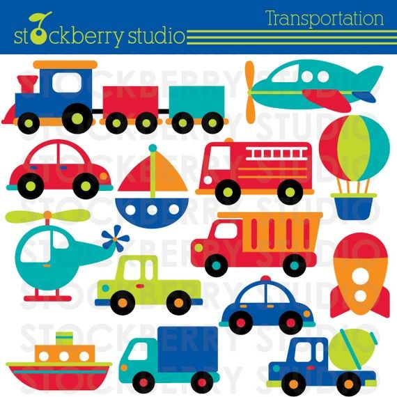 Carros clipart para bebes graphic royalty free library Transporte Clipart - avião, trem e Veículos - Download imediato ... graphic royalty free library