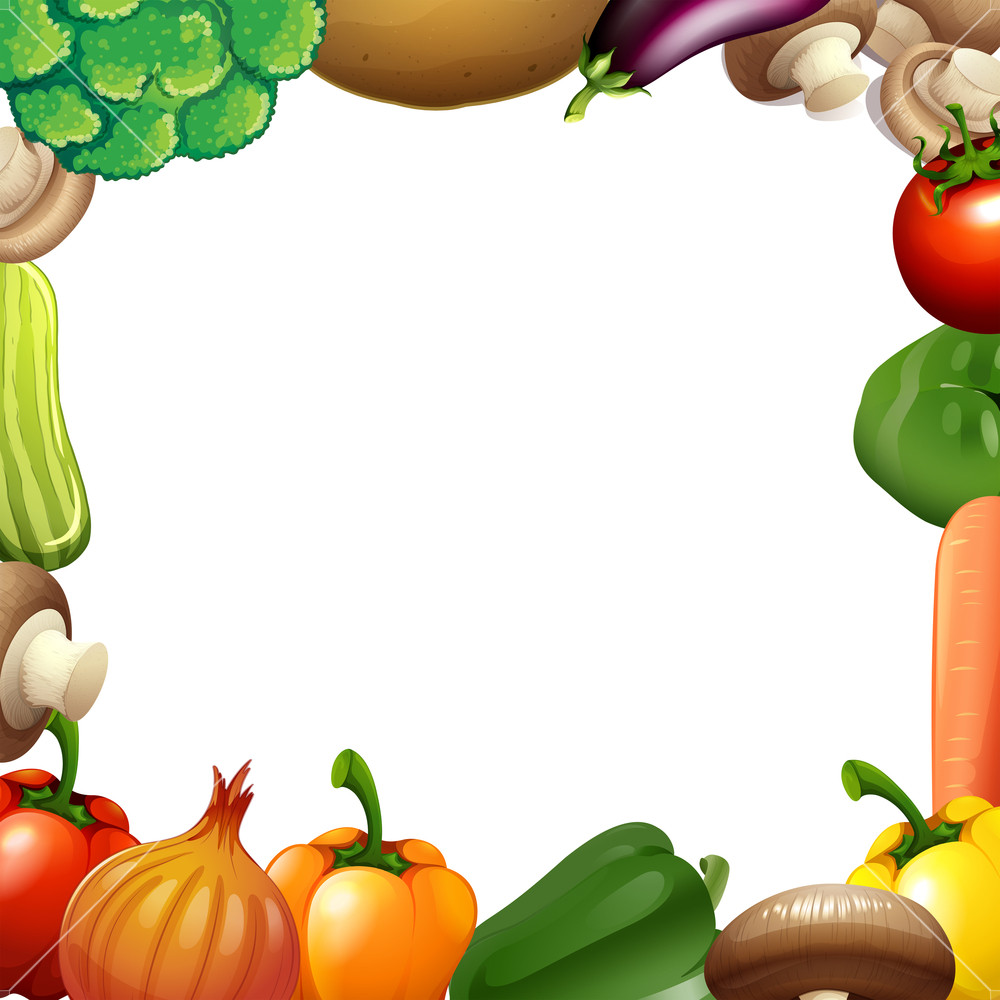 Carrot clipart border jpg free stock Border design with mixed vegetables illustration Royalty-Free Stock ... jpg free stock