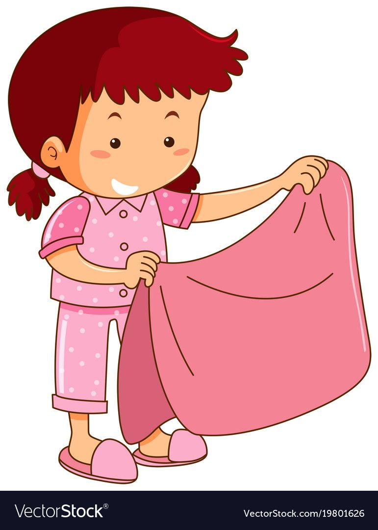 Carry a blanket clipart graphic transparent Girl in pink pajamas holding pink blanket Vector Image | clip art ... graphic transparent