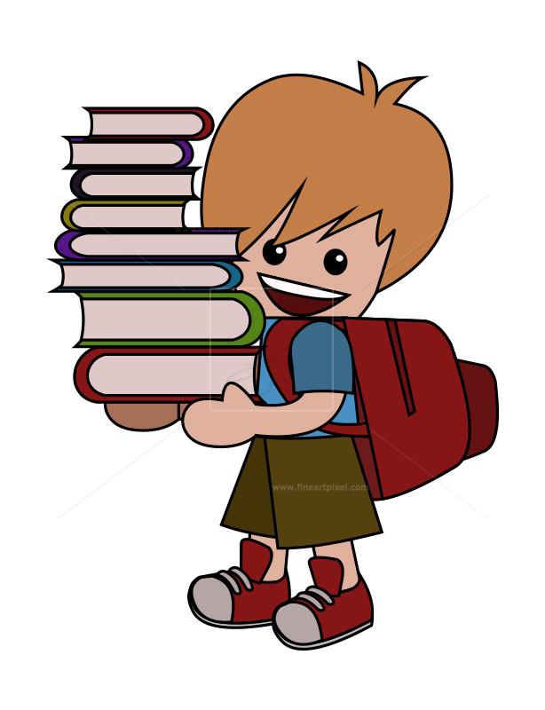 School kid carrying books. Free clipart of someone carring something on their back