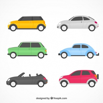 Cars in a row clipart side view