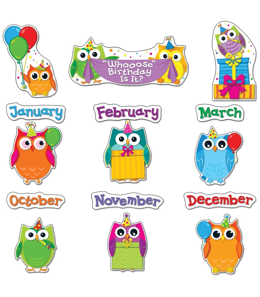 Carson dellosa december clipart banner royalty free download Colorful Owls Birthday Bulletin Board Set Carson Dellosa Publishing ... banner royalty free download