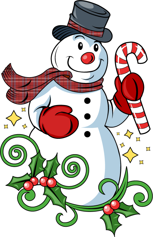 Merry christmas snowman clipart