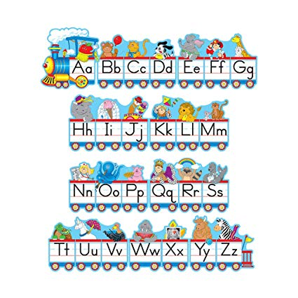 Carson dellosa train clipart jpg black and white library Amazon.com: Carson-Dellosa Alphabet Train Bulletin Board Set ... jpg black and white library