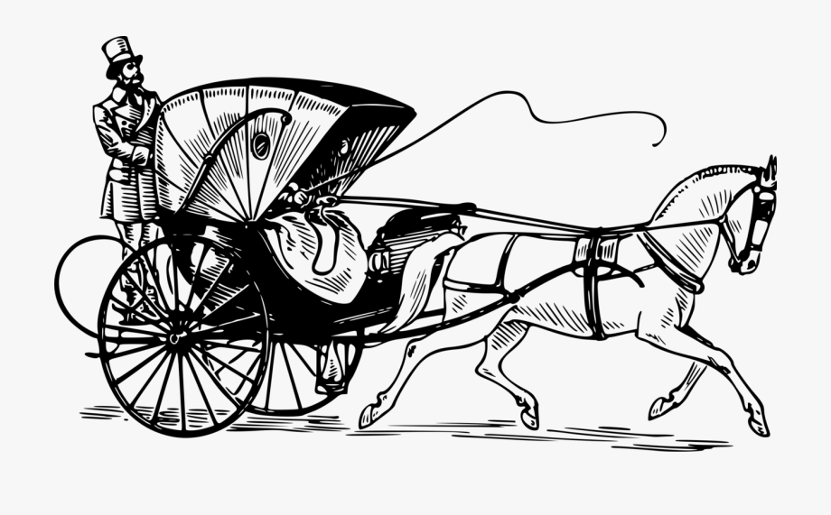 Cart clipart black and white stock Horse And Buggy Carriage Horse-drawn Vehicle Driving - Cart Clipart ... stock