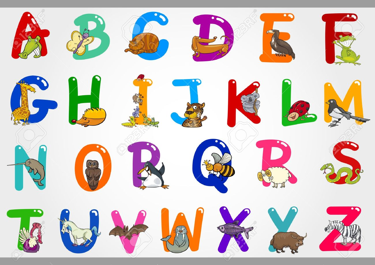 Cartoon alphabet letters clip art graphic free stock Cartoon Illustration Of Colorful Alphabet Letters Set From A ... graphic free stock