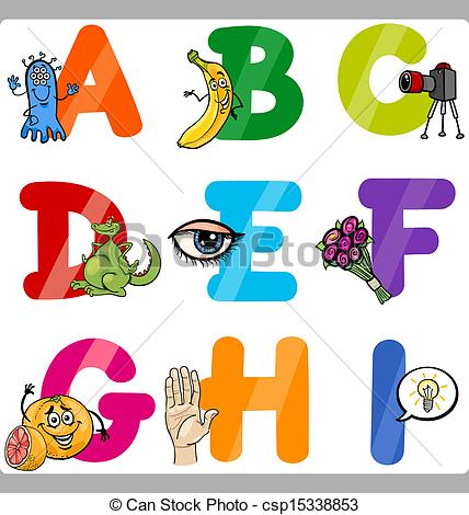 Cartoon alphabet letters clip art jpg black and white stock Clipart Vector of Education Cartoon Alphabet Letters for Kids ... jpg black and white stock