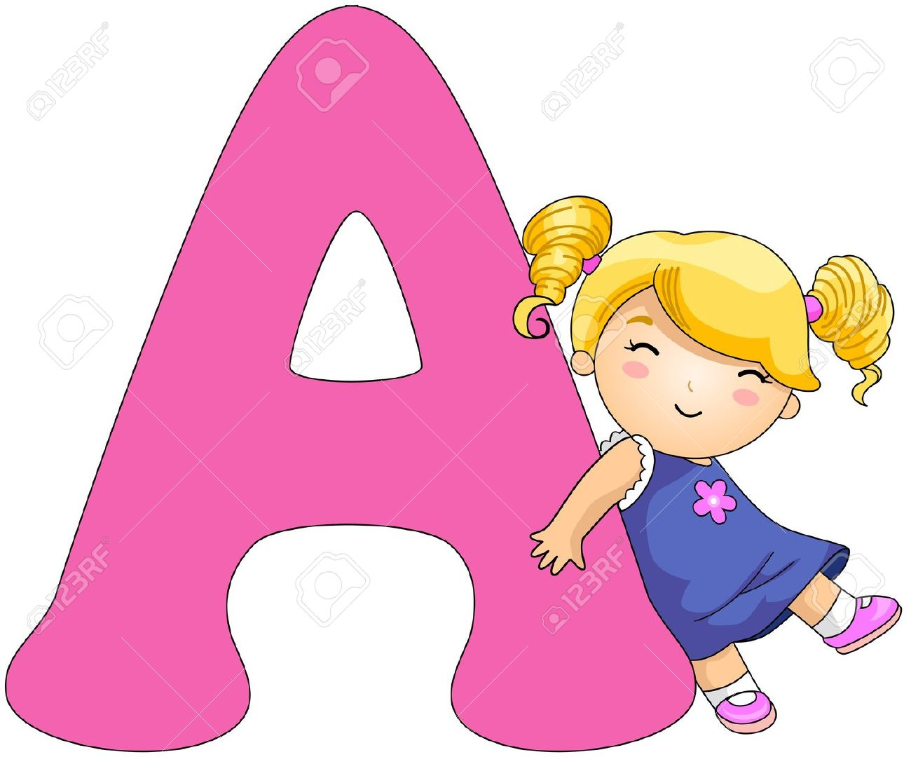 Cartoon alphabet letters clip art banner transparent download Illustration Of A Girl Resting Against A Letter A Stock Photo ... banner transparent download