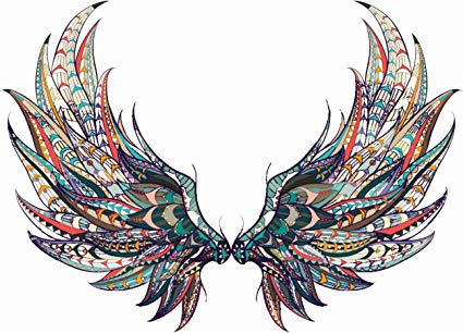 Amazon.com: Beautiful Colorful Feather Angel Wings Tribal Pattern ... png download