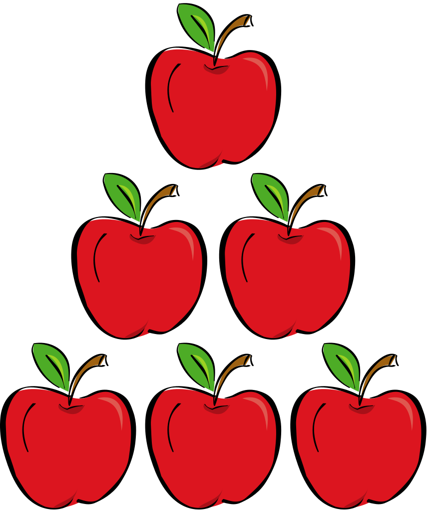 Cartoon apple clipart graphic royalty free library File:Three apples.svg - Wikimedia Commons graphic royalty free library