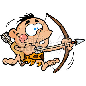 Cartoon bow and arrow clipart vector freeuse library Cave Boy Running With Bow And Arrow clipart. Royalty-free clipart # 386598 vector freeuse library