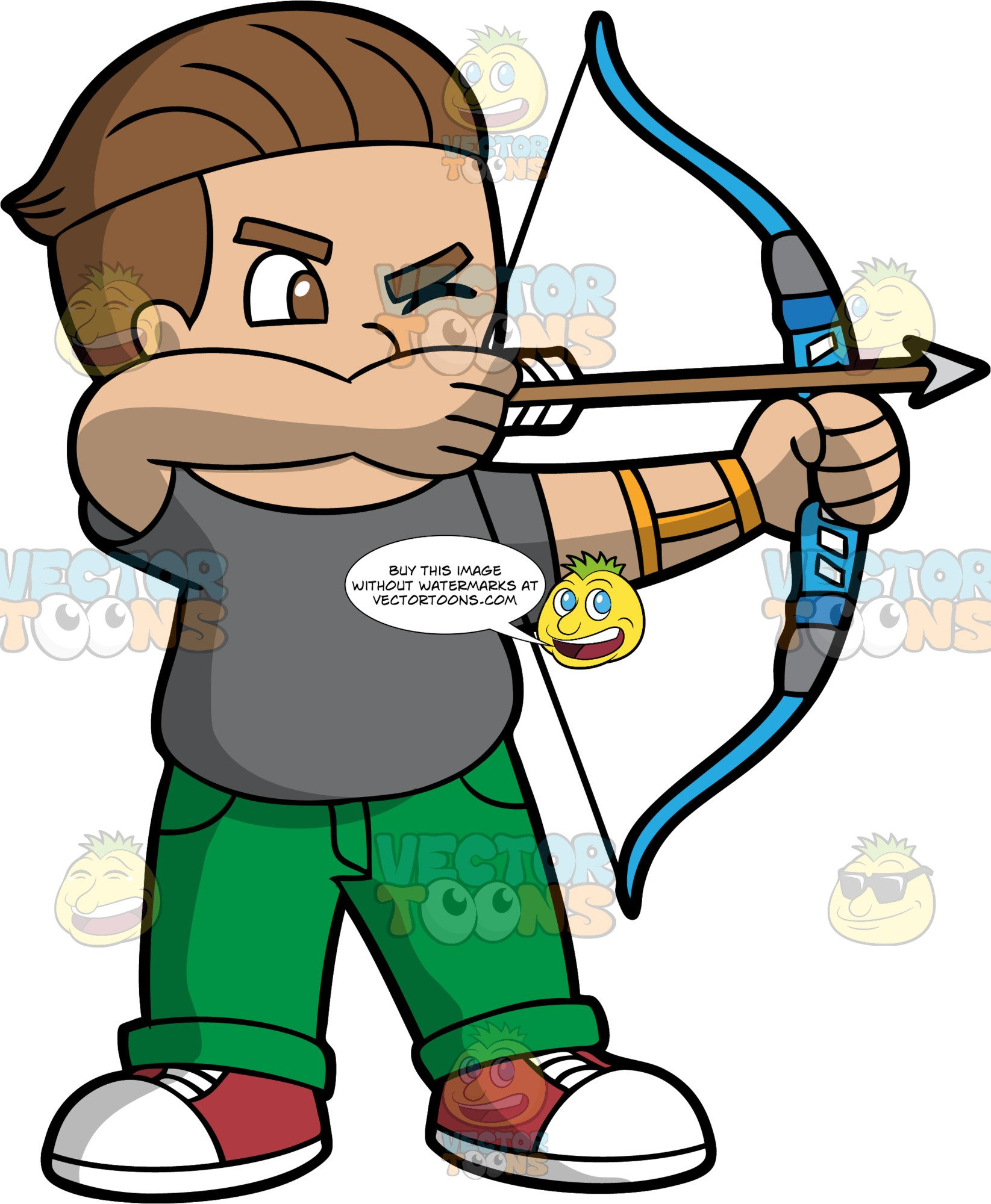 Cartoon bow and arrow clipart image transparent stock Light Skinned Boy Holding A Bow And Arrow image transparent stock
