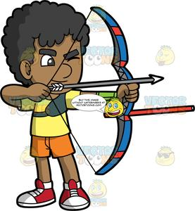 Cartoon bow and arrow clipart jpg free stock Brown Skinned Boy Holding A Bow And Arrow jpg free stock