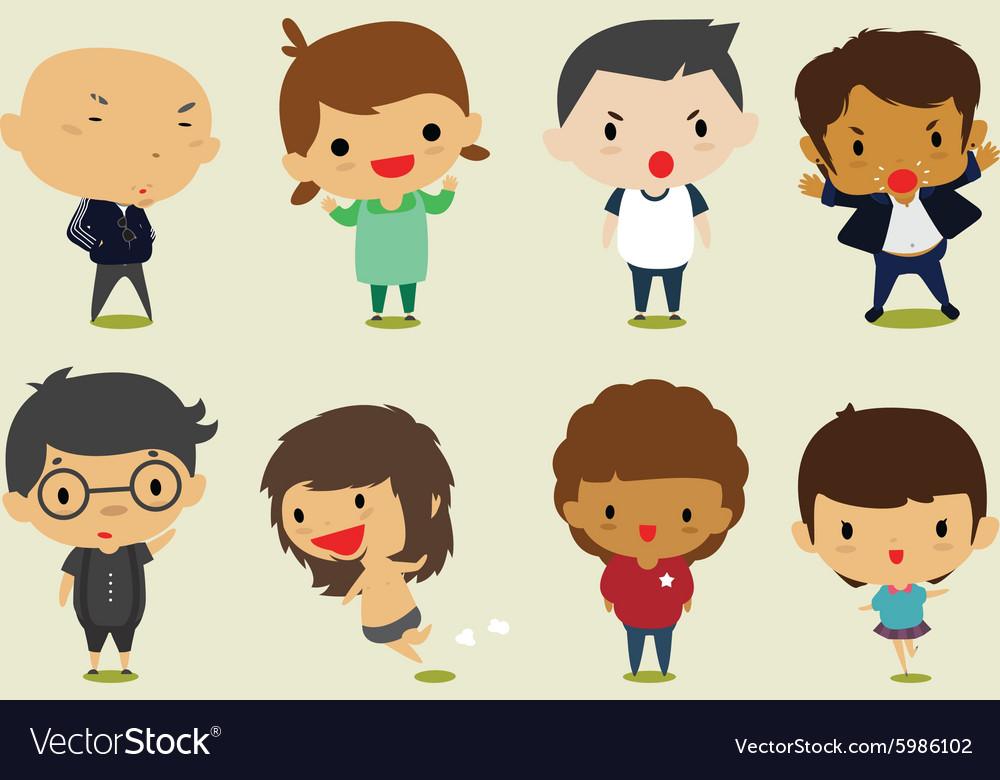 Cartoon boy girl clipart vector royalty free Cute cartoon boys and girls set2 clip art vector royalty free