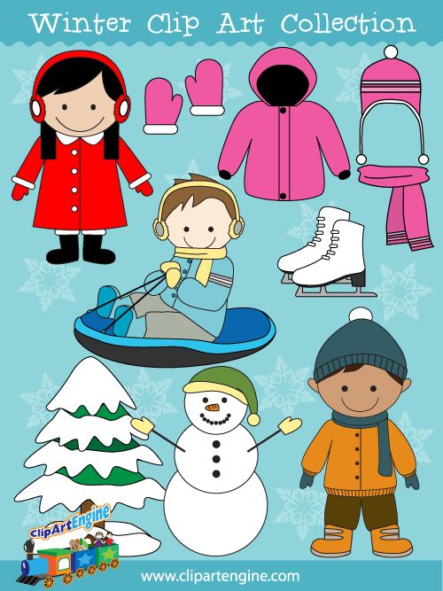Cartoon boy in snow cap and scarf clipart vector free download Vector graphics include a girl and a boy dressed for winter, snow ... vector free download