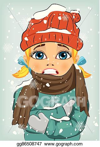 Cartoon boy in snow cap and scarf clipart banner transparent download Vector Illustration - Little girl freezing in winter cold wearing ... banner transparent download
