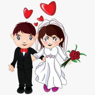 Cartoon bride and groom clipart image black and white Bride And Groom Clipart - Many Many Congratulations On Your Wedding ... image black and white