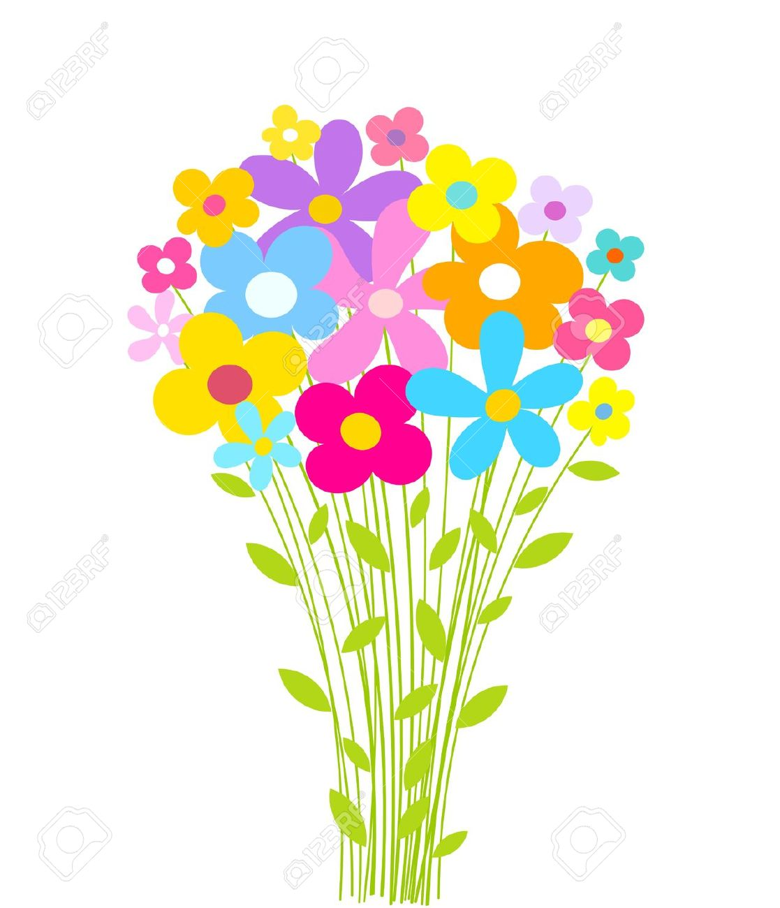 Cartoon bunch of flowers - ClipartFest jpg free
