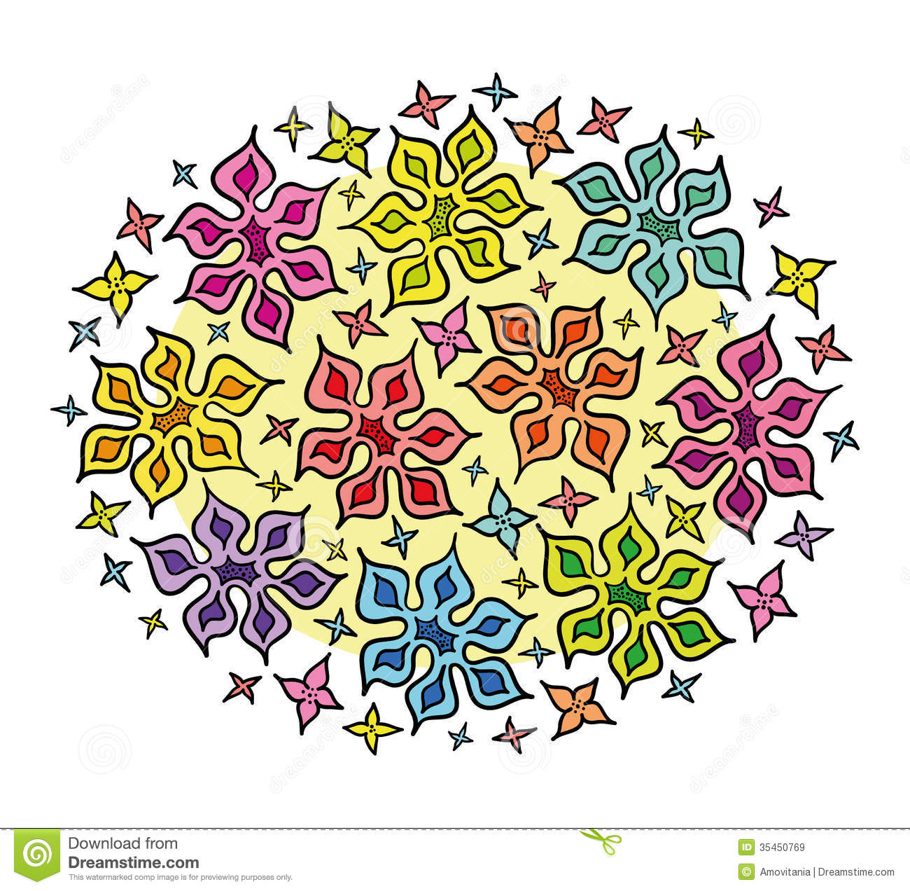 Colorful Bunch Of Cartoon Flowers Royalty Free Stock Images ... image transparent download