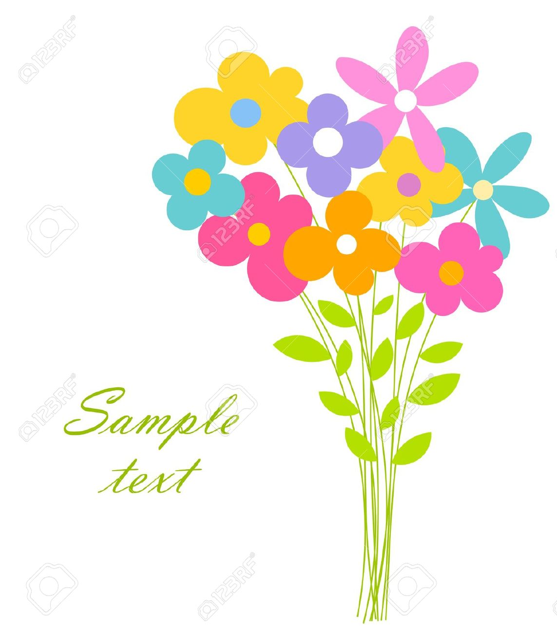 Cute Bouquet Of Flowers. Vector Illustration Royalty Free Cliparts ... banner transparent download